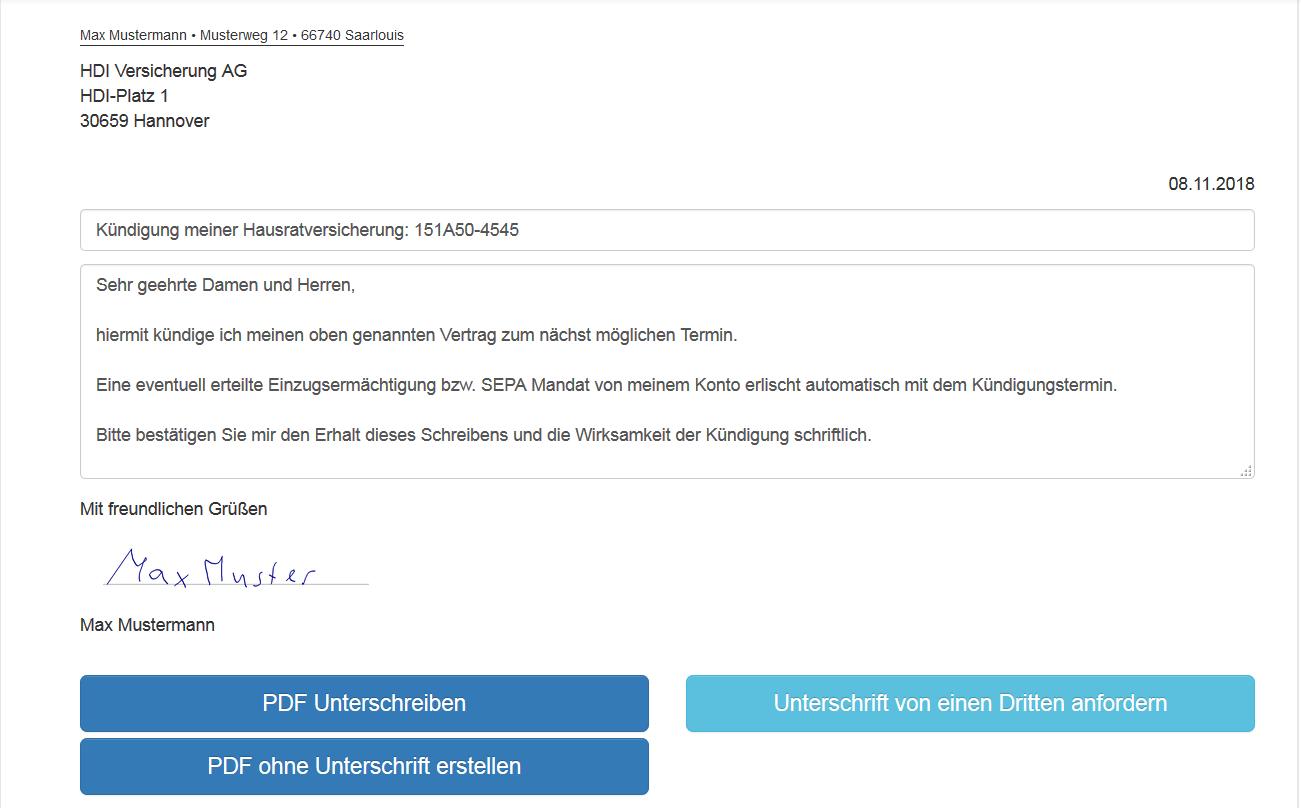 Kündigungsschreiben Vorlage Versicherung Onverma Online